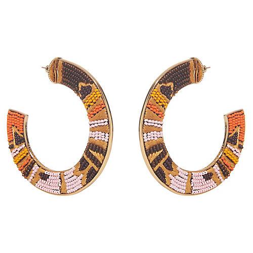 Aztec Fiona Hoop Earrings, Gold