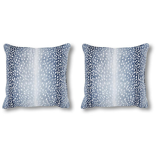 S/2 Doeskin Pillows, Indigo/White Linen