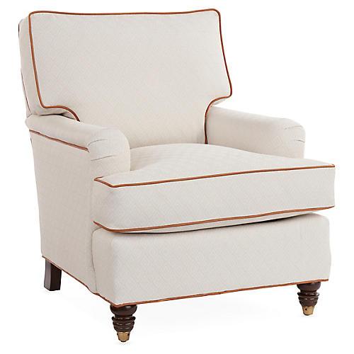 Kate Club Chair, Off-White/Brown