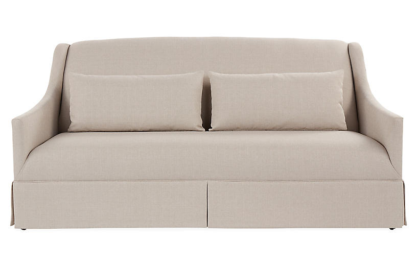 Dawes Skirted Sofa, Natural Crypton