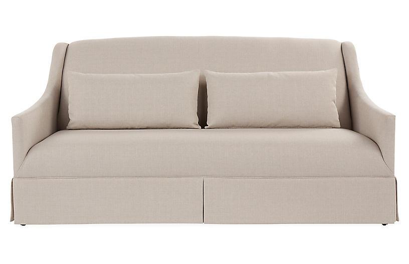 Dawes Skirted Sofa, Natural Crypton