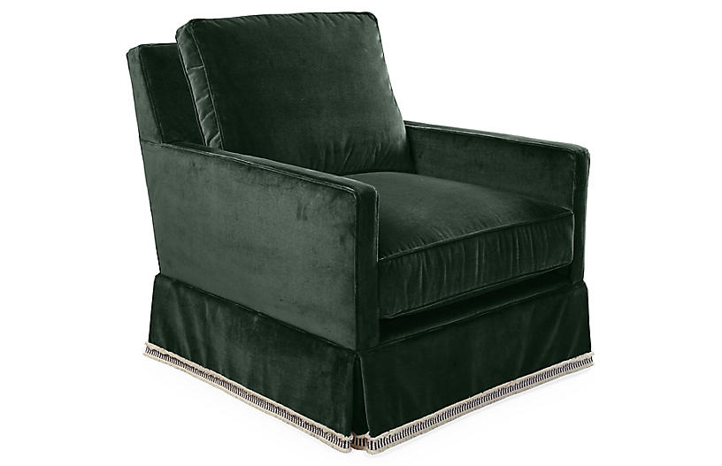 Auburn Club Chair, Forest Velvet