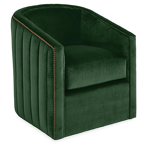 Maxwell Swivel Glider Chair, Emerald Velvet