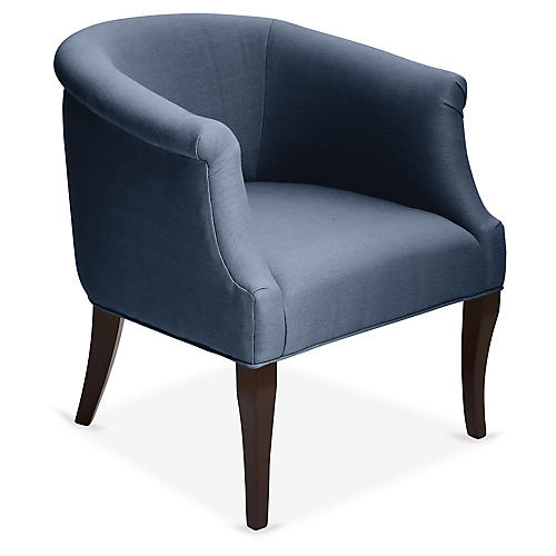 Selby Club Chair, Navy Linen