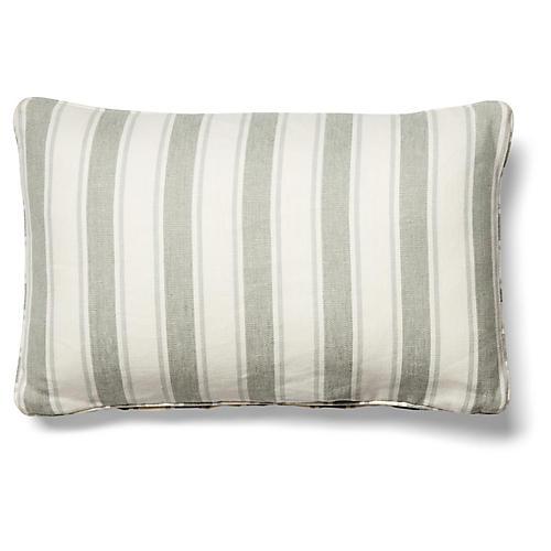 Hove 12x20 Lumbar Pillow, Sage/White Linen