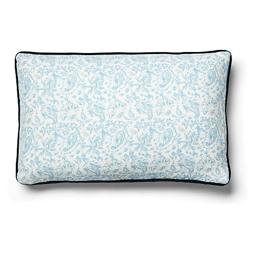 Indo 12x20 Lumbar Pillow, Blue/Indigo