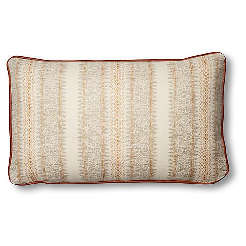 Mihai 12x20 Lumbar Pillow, Ivory/Saddle