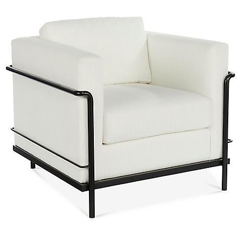 Charleston Club Chair, White Crypton