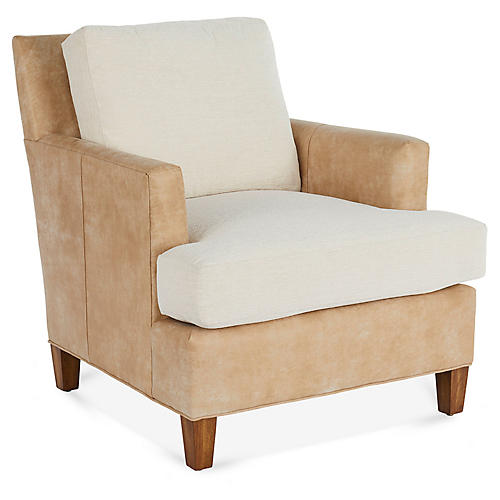 Bower Club Chair, Tan Leather