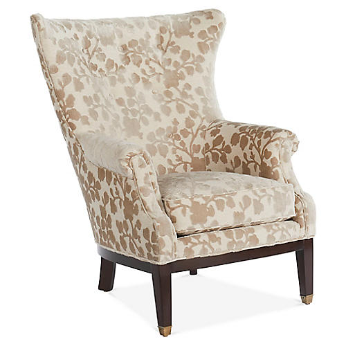 Callahan Wingback Chair, Taupe Floral