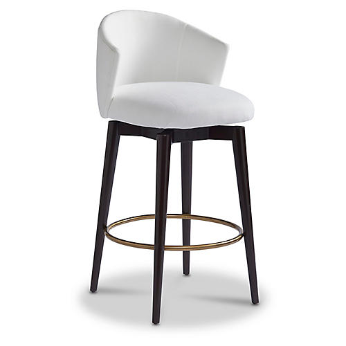 Luna Swivel Counter Stool, Snow Crypton