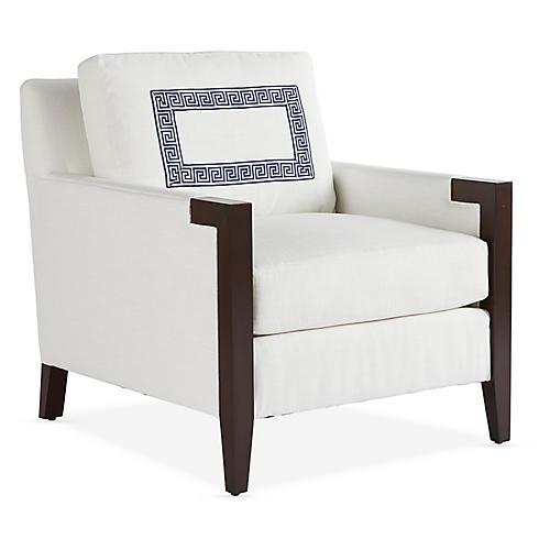 Chloe Club Chair, Snow/Greek Key