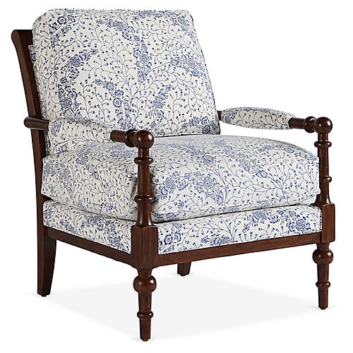 Lily Chair, Navy/Cream Floral