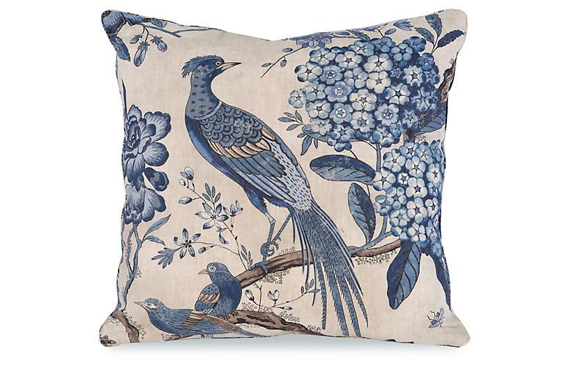 Floral Pheasant Pillow, Beige