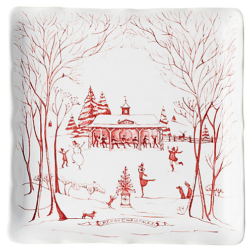 Winter Frolic Serving Plate, Ruby
