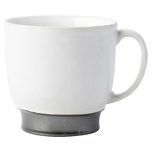 Emerson Coffee Cup, White/Pewter