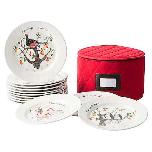 Asst. of 12 Days of Christmas Plates w/ Case
