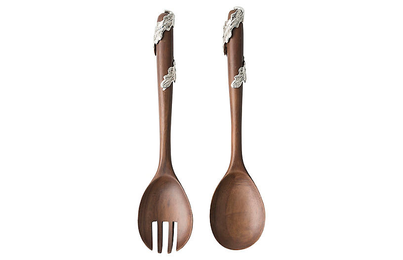 Asst. of 2 Merriam Salad Servers, Natural/Nickel