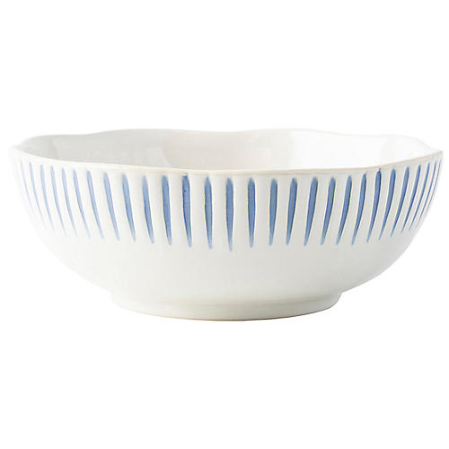 Sitio Stripe Coupe Bowl, Indigo/White