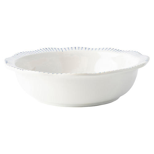 Sitio Stripe Serving Bowl, Indigo/White