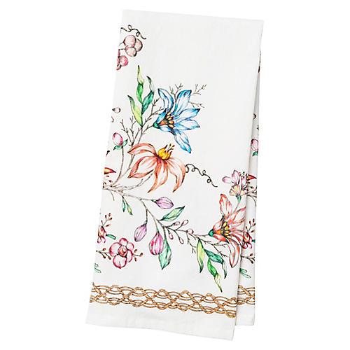 Floretta Tea Towel, White/Multi
