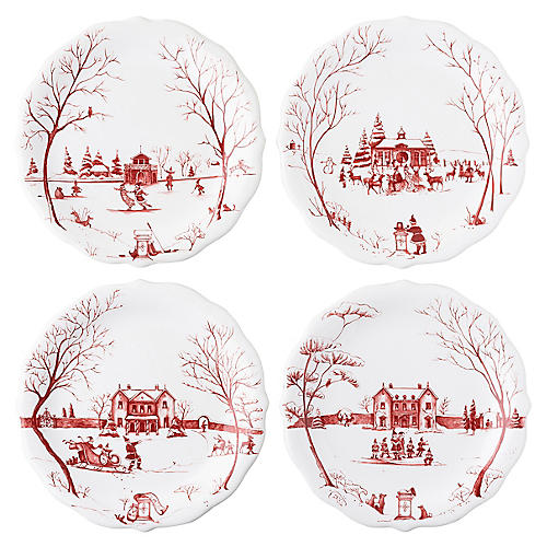 S/4 Winter Frolic Party Plates, Ruby