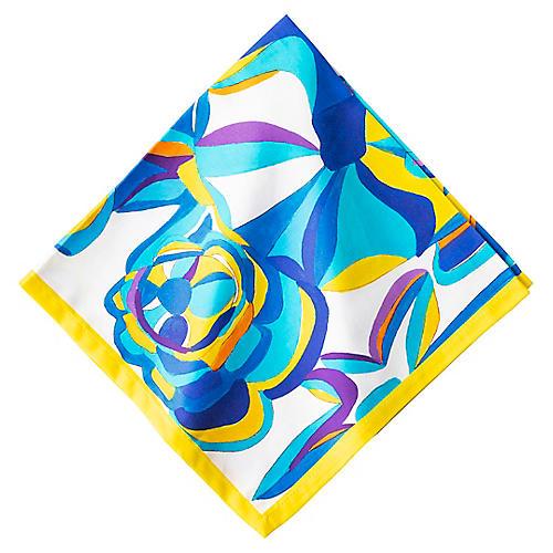 Blue Rose Napkin, White/Multi