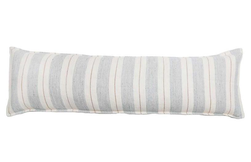 Laguna 18x60 Body Pillow, Ocean/Natural Linen