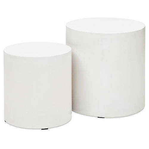S/2 Nina Side Tables, Ivory