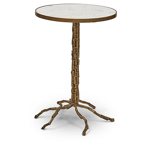 Isabella Side Table, White/Antiqued Brass