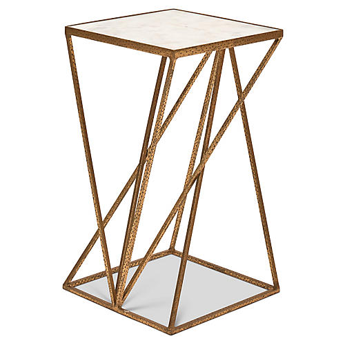 Triad Side Table, White/Antiqued Brass