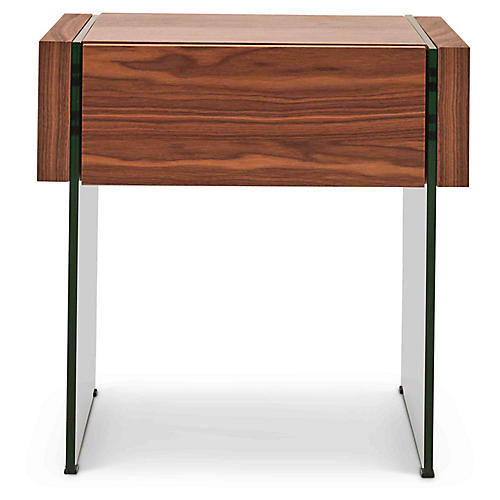 Reyes Side Table, Walnut/Clear