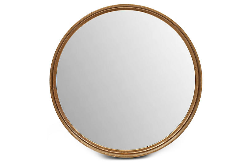 Alanis Round Wall Mirror, Antiqued Brass