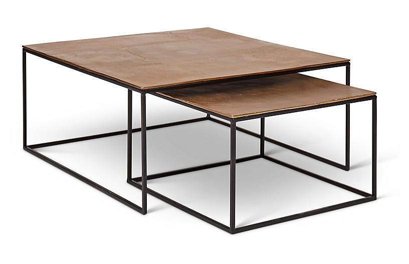 Asst. of 2 Darcey Nesting Coffee Table, Brass