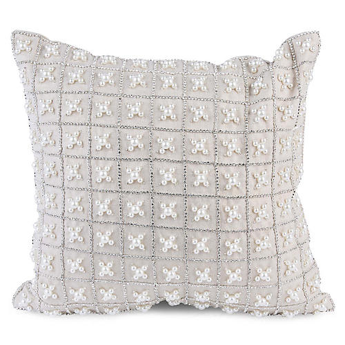 Chakor 12x12 Pillow, White Linen