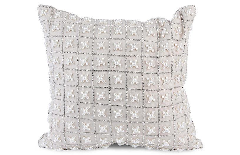 Chakor 12x12 Pillow, White Linen