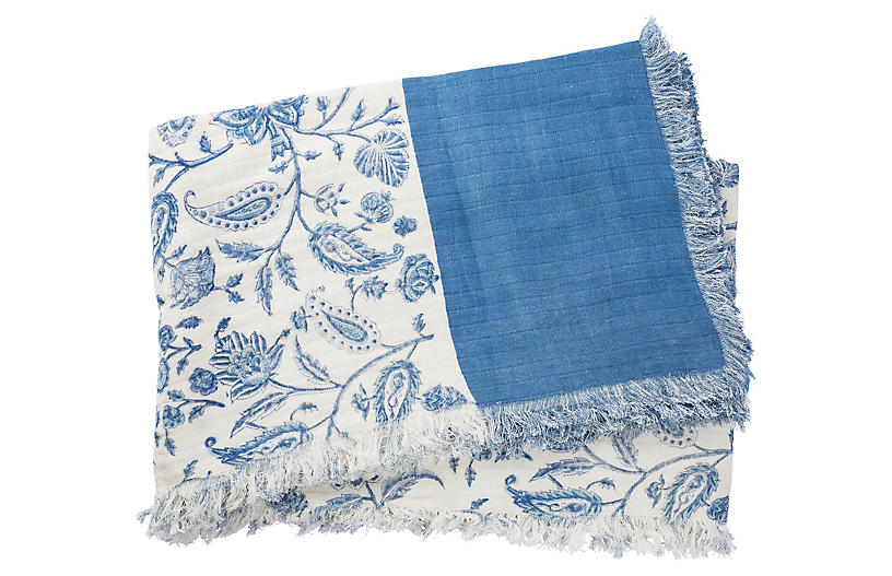 Catia Cotton Throw, Blue