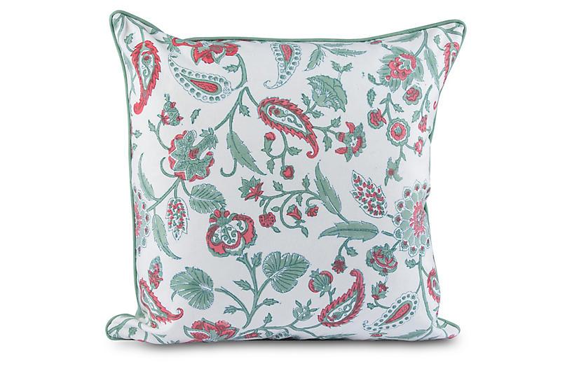Kerr 20x20 Pillow, Green/Coral