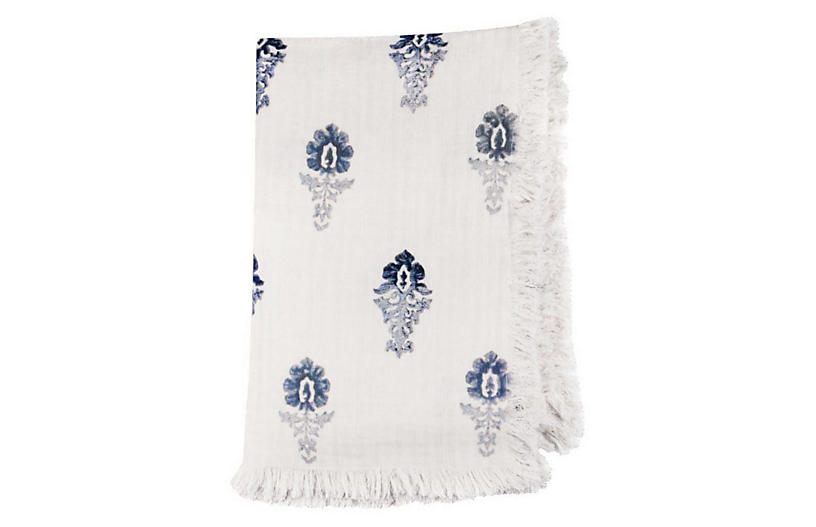 Fleur Ombre Throw, Blue/Ivory