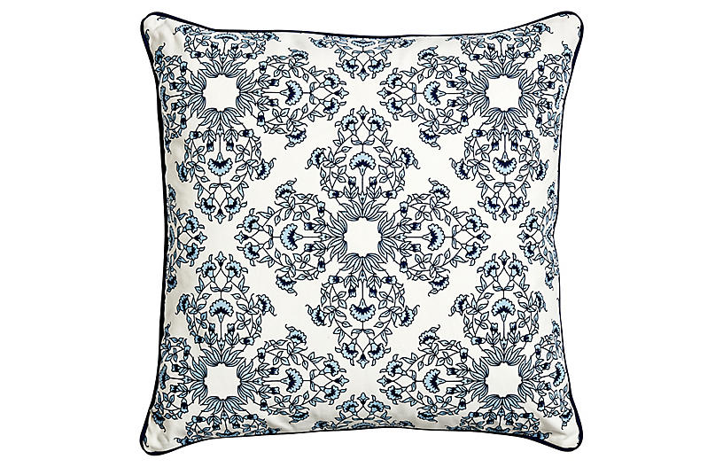 Flora Pillow, Ivory/Royal Blue
