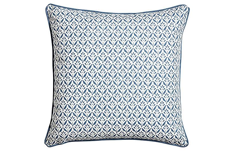 Azura Pillow, Ivory/Denim Blue