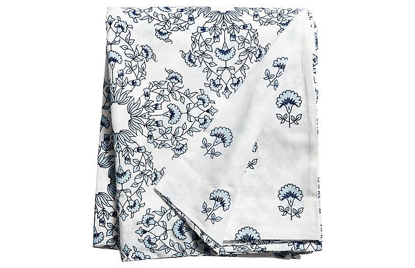 Flora Duvet Cover, Ivory/Royal Blue