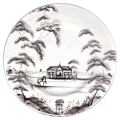 Country Estate Bread Plate, White/Black