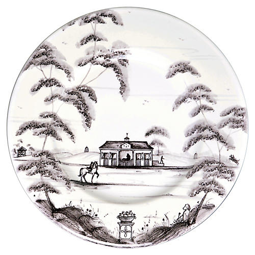Country Estate Bread Plate, White/Black