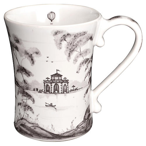 Country Estate Coffee Cup, White/Black