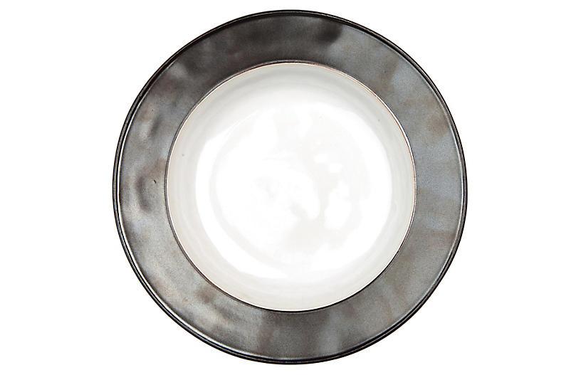 Emerson Pasta Bowl, White/Pewter