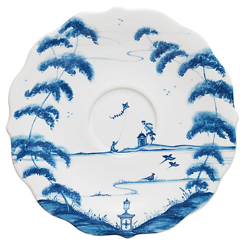 Country Estate Tea Saucer, White/Blue