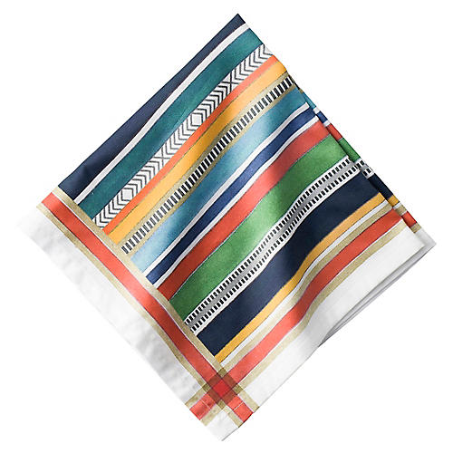Basque Stripe Dinner Napkin, Orange/Multi