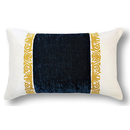 Francesca 12x20 Lumbar Pillow, Midnight Blue Velvet