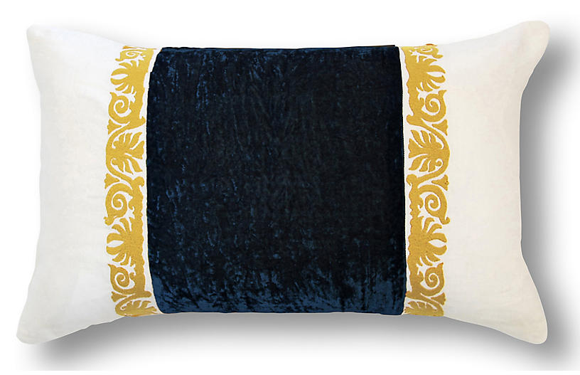 Francesca Lumbar Pillow, Midnight Blue Velvet